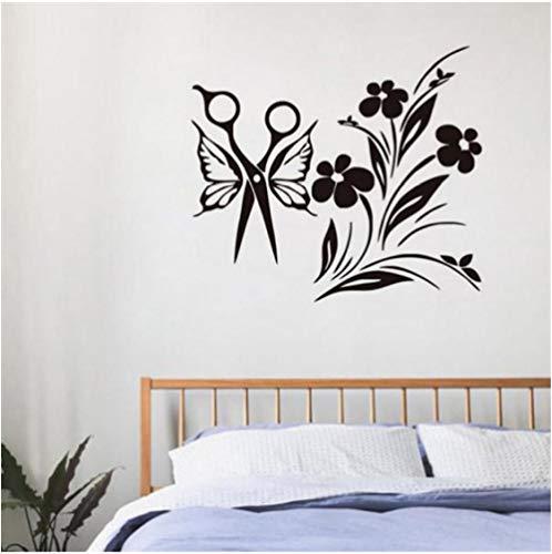 Styling-schere (Schmetterling Styling Schere Mit Blumen Vinyl Wandaufkleber Wohnkultur Für Wohnzimmer Dekoration Super Qualität Abziehbilder 59x65 cm)