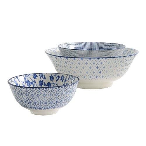 ProCook Porzellan, chinesisches Reisschalenset, tief, blau, 3-teilig