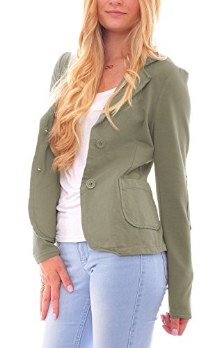 Olive Vintage Blazer (Easy Young Fashion Damen Business Kurzblazer Vintage Baumwoll-Jersey Blazer Sakko uni Khaki XL - 40)