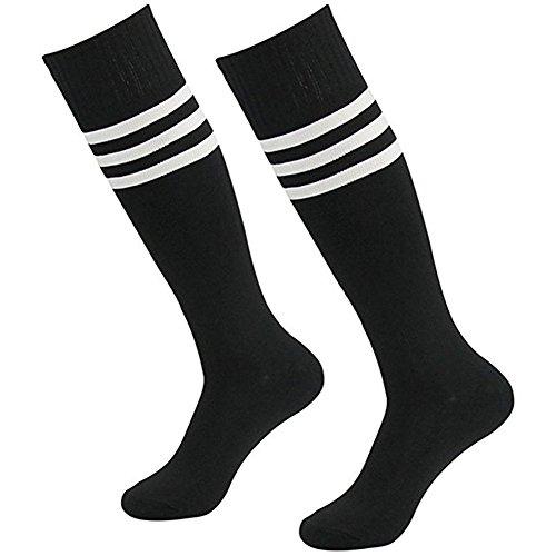 Da wa - calzettoni lunghi alla moda, a strisce, da uomo/donna/ragazzi/ragazze, per sport: calcio e danza, nero