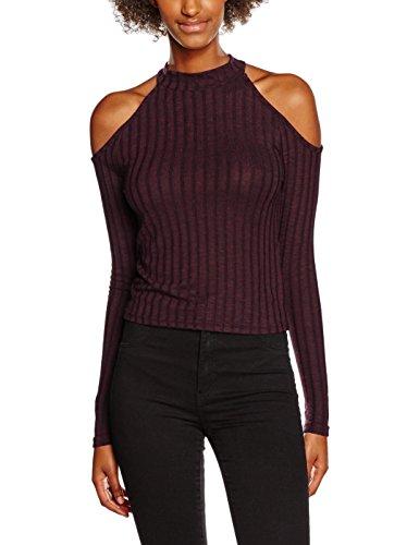 New Look Rib Cold Shoulder, T-Shirt Femme Red (Dark Burgundy)