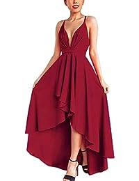889e7c3374f Abravo Femme Robe de Cocktail Mariage Soirée Elégant Asymétrique sans  Manches Dos Nu ...