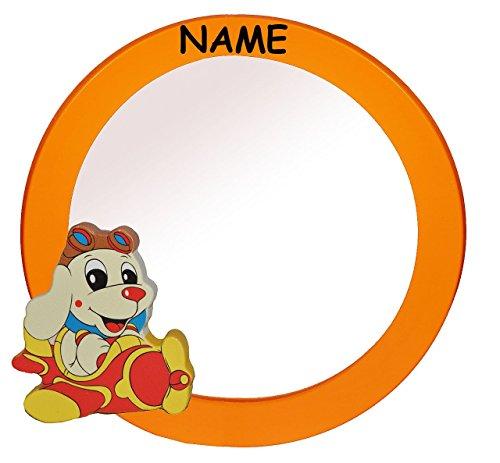 Spiegel / Wandspiegel aus massiven Holz incl. Name - Hund im Flugzeug in orange - Kinderzimmer - Tiere - Mädchen Jungen Hunde oranger Haustiere - für Kinder die Wand - Tier