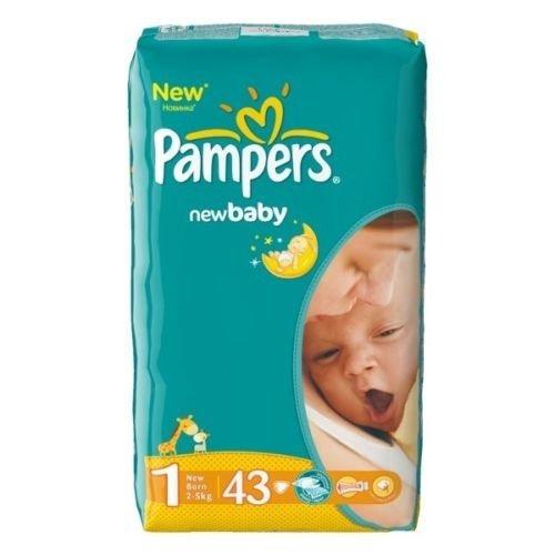 Preisvergleich Produktbild 43 (1x43) Pampers Windeln New Baby DRY Gr. 1.( 2-5 KG) (Gewicht: 2-5KG) NEWBORN (1 x 43 Windeln)