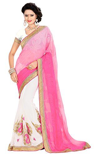 Chigy Whigy Pink Jacquard Casual Wear Sarees