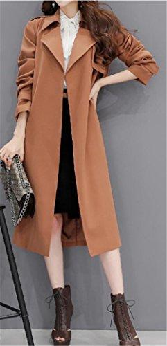 Der Frauen elegante OL Gurt-Taille Slim Fit Lange Trenchcoat Windjacke Khaki