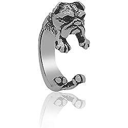 Serebra Jewelry anillo bulldog inglés con tinte plateado ajustable