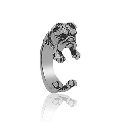 Serebra Jewelry anillo bulldog inglés tinte plateado