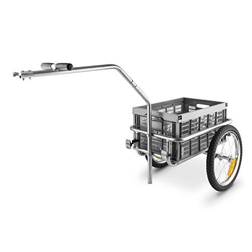 DURAMAXX Bigbig Box Fahrradanhänger Handwagen (Hochdeichsel-Kupplung, Transportbox mit 40 Liter Volumen, bis max. 40 kg belastbar, Handgriffe, Autoventil) grau - 6