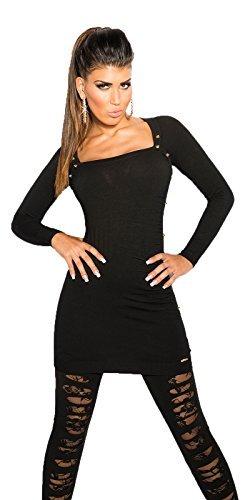 KouCla -  Vestito  - fasciante - Basic - Maniche lunghe  - Donna Nero