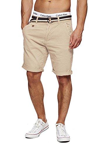 INDICODE Herren Cuba Shorts Bermuda kurze Hose inkl. Gürtel Beige Fog M