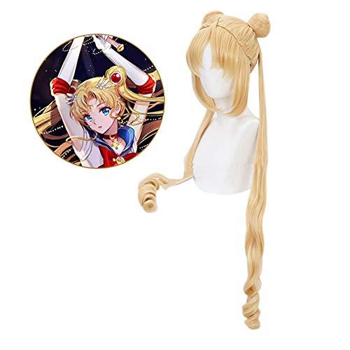 ALTcompluser Anime Sailor Moon Tsukino Usagi Cosplay Wig Goldene Perücke, Zubehör für Anime Party - Sailor Moon Kostüm Zubehör