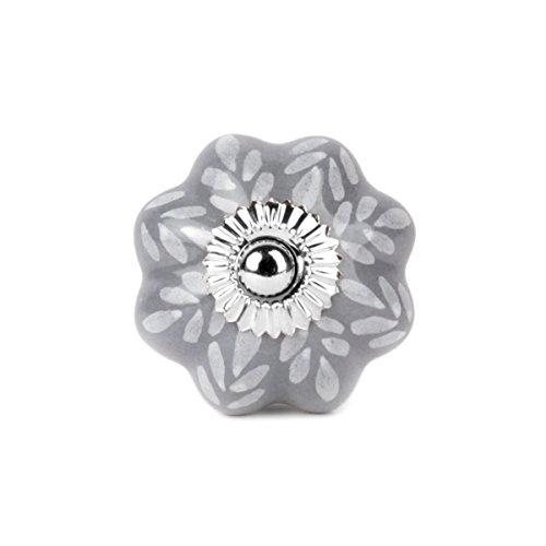 Preisvergleich Produktbild Möbelknopf Möbelknauf Möbelgriff - sternförmig grau Blätter, Tupfen weiß