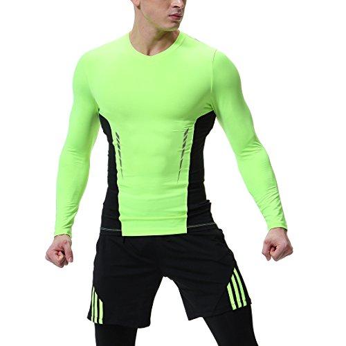 (Herren Soft Gym Workout Base Layer Shirt Langarm Kompression Shirt Männer Fitness Sport T-Shirt Strumpfhose Grün 2XL)