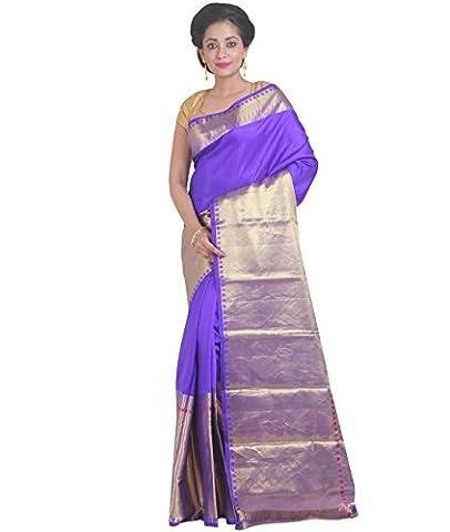 Indian Ethnic Pure Kanjeevaram Silk Purple Handloom
