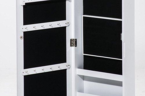 CLP Schmuckschrank SUAREZ mit Spiegel | Spiegelschrank mit Haken für Ketten und Steckplätzen für Ringe Weiß - 3