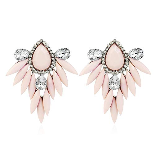 Presock Pendientes Mujer,Aretes New Ethnic Flower Bohemian Long Drop Earrings Fashion Jewelry Statement Earrings Big Hanging Luxury Vintage Earrings For Women Pink Antique Silver Plated