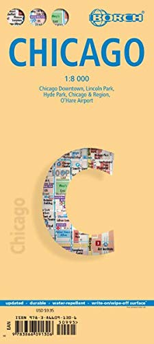 Chicago, Borch Map: Chicago Downtown, Lincoln Park, Hyde Park, Chicago & Region, O´Hare Airport (Borch Maps) - Chicago Ohare Airport