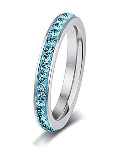 Beydodo Stainless Steel Rings (Wedding Bands) For Women Eternity Rhinestone Round 4mm Size L 1/2