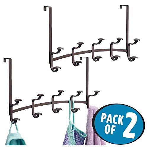 mDesign 2er-Set Garderobe aus Metall – praktische Flurgarderobe mit insgesamt 10 Haken für Jacken, Handtücher, Taschen, etc. – stilvolle Garderobenhaken für über die Tür – bronze