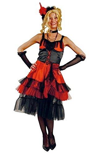 Can Can Kostüm schwarz-rot für Damen | Größe 40/42 | 3-teiliges Moulin Rouge Kostüm | Saloongirl Kleid Faschingskostüm für Frauen | Tanzkleid für (Ideen Burlesque Kostüm)