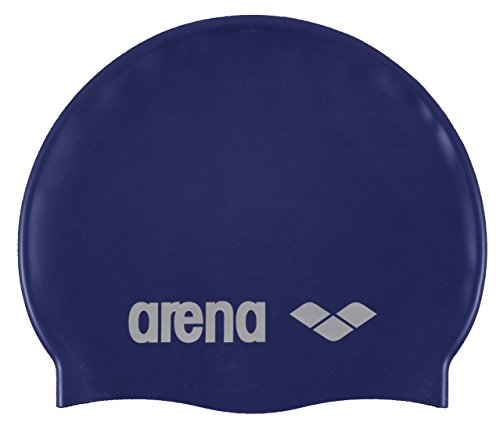 Arena classic silicone cuffia, denim/silver, taglia unica