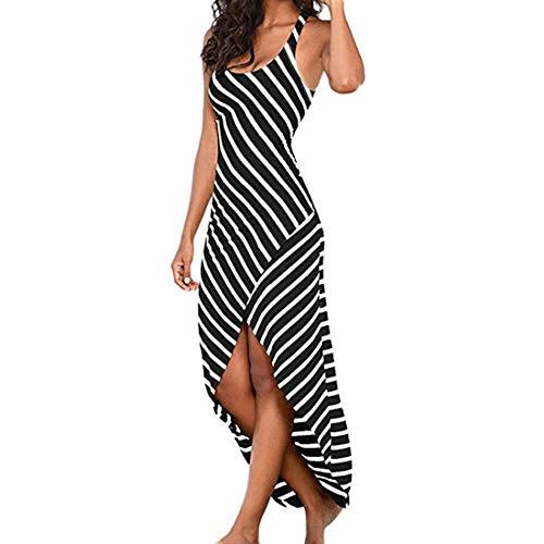 CARETOO Damen Sleeveless Sommerkleid Sexy Stripes Kleid Lässige Damen Oansatz Knöchellangen, Figurbetontes Abendkleid Röcke -