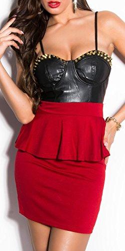 Mini robe sexy à dessus en cuir et les rivets koucla by in-stylefashion sKU 0000D822 Rouge - Rouge