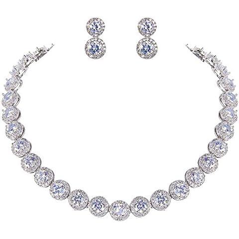 Ever Faith argento, con Zirconia cubica tonda, Set di collana e orecchini, con file