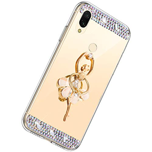 Herbests Kompatibel mit Xiaomi Redmi 7 Handyhülle Glitzer Diamant Glänzend Spiegel Handytasche Durchsichtig Kristall Bling Schutzhülle Case mit 360 Grad Ring Ständer Halter,Gold