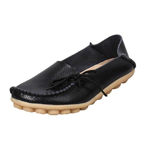 Heheja Damen Freizeit Flache Schuhe Low-top Mokassin Loafers Erbsenschuhe Schwarz