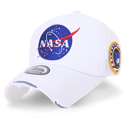 ililily NASA Meatball abgebildet im Logo Stickerei Baseball Cap Apollo 1 Flicken Trucker Cap Hut (XL, White) - Crown Cap Hüte