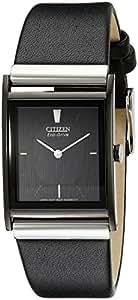 Citizen Men's Eco-Drive Black Ion-Plated Leather Strap Watch #BL6005-01E
