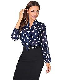 KRISP Damen Elegante Chiffon Bluse mit Ausschnitt Schleife Verschiedene  Muster 676a1c14f3