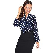 31cb2197c5e667 KRISP Damen Elegante Chiffon Bluse mit Ausschnitt Schleife Verschiedene  Muster