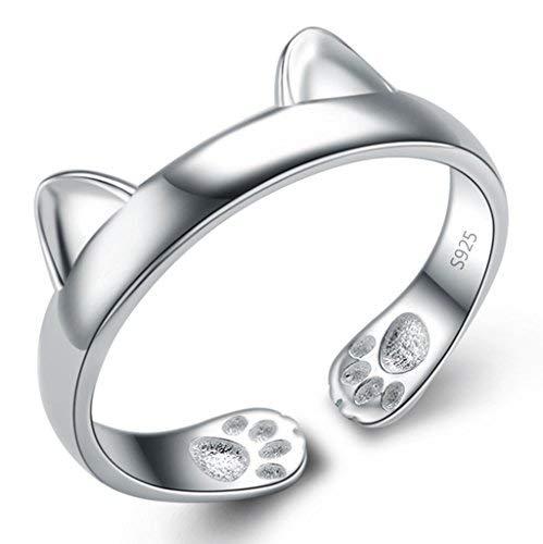 Unendlich U Fashion 925 Sterling Silber Rhodium Plated verstellbarer Ohren der Katze Damen Ring Größe 50 für Frauen/Mädchen