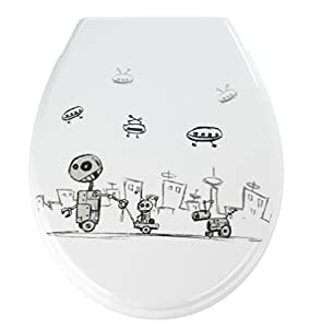 WENKO 18754100 Premium WC-Sitz Robots - Absenkautomatik, rostfreie Fix-Clip Hygiene Edelstahlbefestigung, Kunststoff - Duroplast, 37 x 44.5 cm, Mehrfarbig