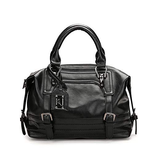 AlwaySky Damen Handtasche, weiche Umhängetasche aus PU-Leder, Vintage Totes Satchel Schulter Boston Tasche für die Arbeit einkaufen (schwarz) -