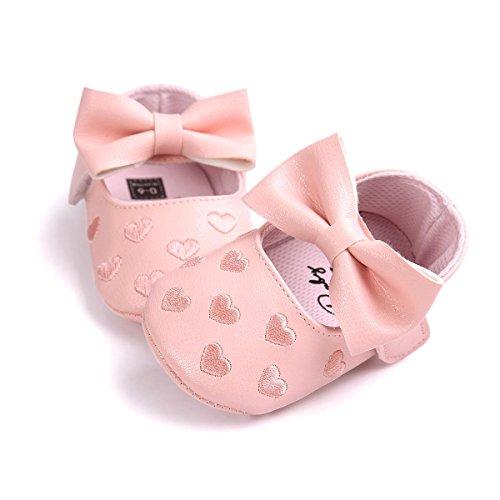 Itaar Baby Mädchen Schuhe Süß mit schönem Bogen PU-Leder Mokassins gestickte Herz und weicher rutschfester Sohle für Babys 0-18 Monate Rosa
