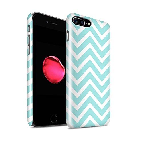 STUFF4 Glanz Snap-On Hülle / Case für Apple iPhone 8 / Bunte Punkte Muster / Wintermode Kollektion Blauer Zickzack