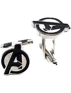 Samt Box The Avengers Emaille Manschettenknöpfe Marvel Comics Superhelden-Manschettenknöpfe für Männer–Buchstabe A