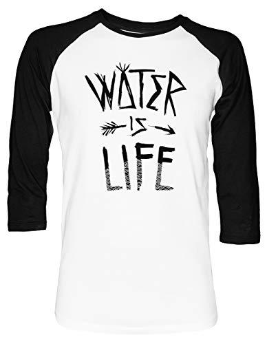 Water is Life Unisex Baseball T-Shirt 2/3 Ärmel Herren Damen Weiß Schwarz -
