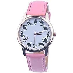 SSITG Black Cat Watch Quartz Watch Women's Watch Girl's Watch PU Leather Watch