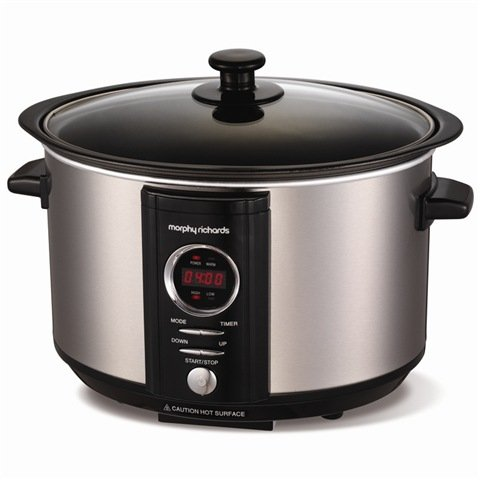 Morphy Richards 460004 Sear & Stew Digital Slow Cooker Non stick aluminium pan to sear meat and onions before slow cooking 163 watts 3.5 Litre total capacity 2.5 Litre working capacity Low/High/Keep Warm Heat settings – Brushed Stainless Steel