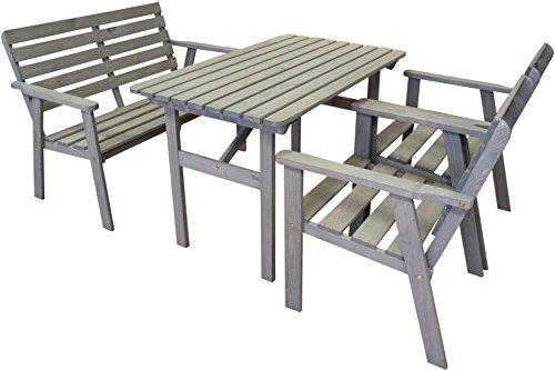 Unbekannt Garten Sitzgruppe 4-TLG grau lasiert Kiefer Tisch Stuhl 2-Sitzer