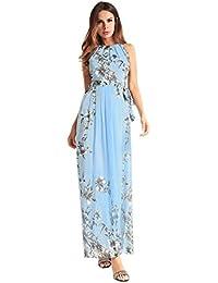 93ae03641 Dxlta Vestido largo para mujer - Con cinturón Halter sin mangas Floral  Impreso Beach Casual Maxi