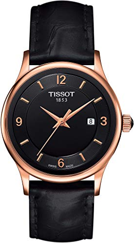 TISSOT - Montre Femme Tissot Rose Dream Quartz T9142104605700 Bracelet Cuir Noir - T9142104605700