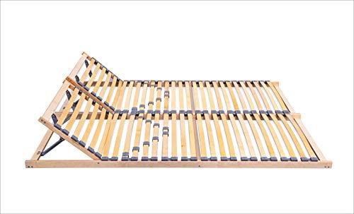 federholzrahmen 180x200 ECOFORM Lattenrost mit Integrierter KOPFTEILVERSTELLUNG und Härtegradregulierung 120/140/160/180/200x200cm, Federholzrahmen Bettrahmen, Kopfteil Verstellbar - vom Hersteller (180 x 200 cm)