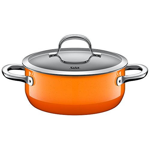 Silit pan Ø 20cm, approx. 2.4l, passion orange. Pouring rim, made in Germany, hollow handles, glass lid, Silargan functional ceramic, suitable for induction hobs, dishwasher safe