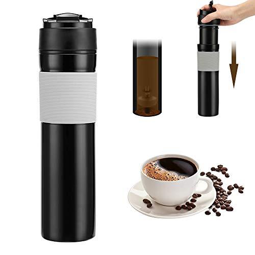 Konesky Prensa francesa portátil Botella de café 350 ml Té Cafetera Botella Botella de viaje Vacío Émbolo del café para acampar Senderismo Oficina Viajes